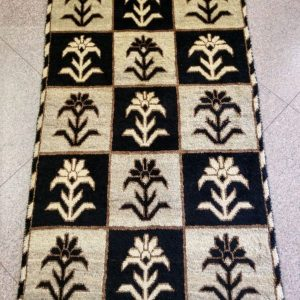 black and white Persian rug